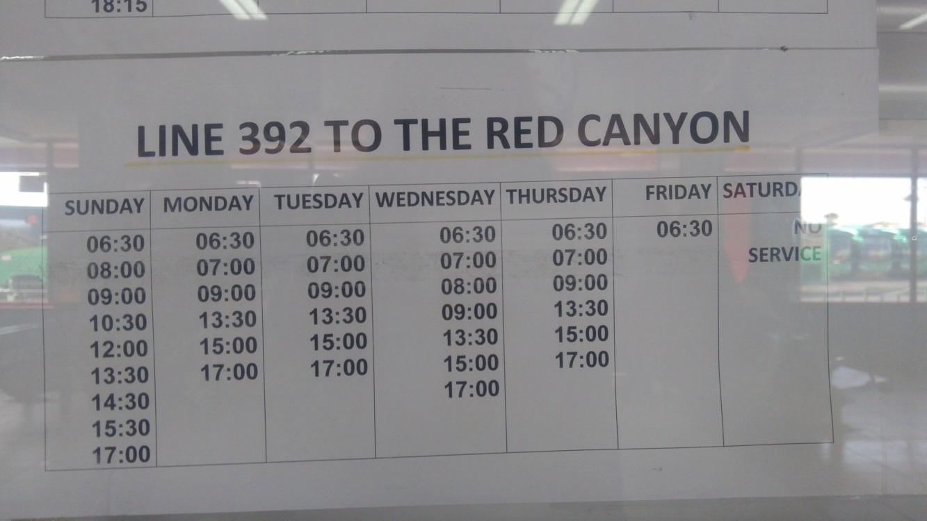 Jízdní řád autobusu do Red Canyon