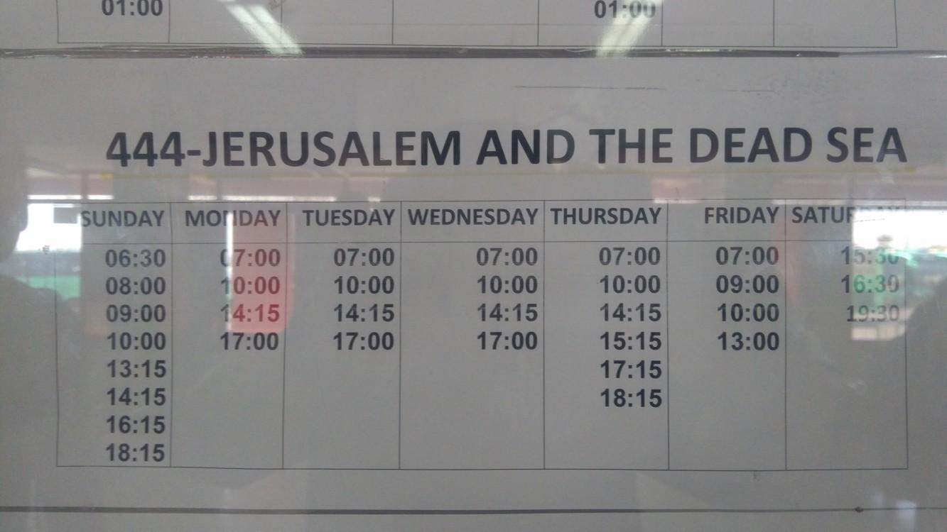 Jízdní řád autobusu k Mrtvému moři a do Jeruzaléma