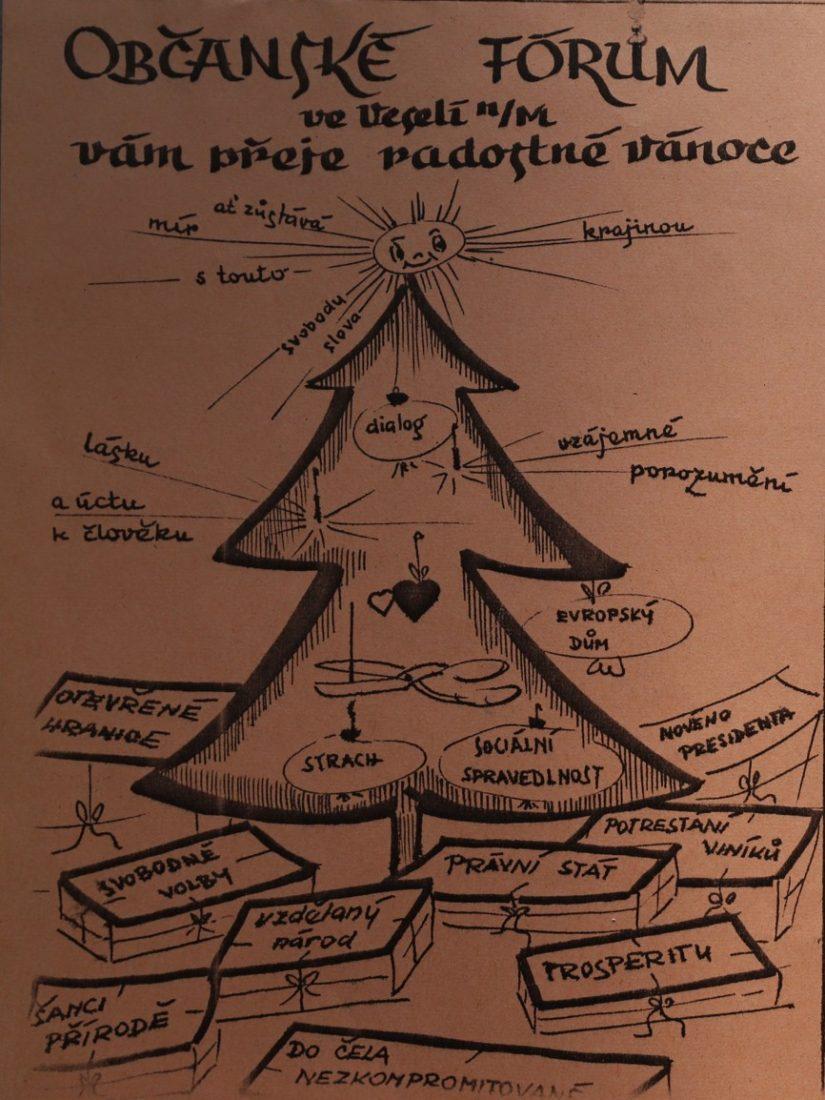 Veselané měli v roce 1989 i toto originální vánoční přání.