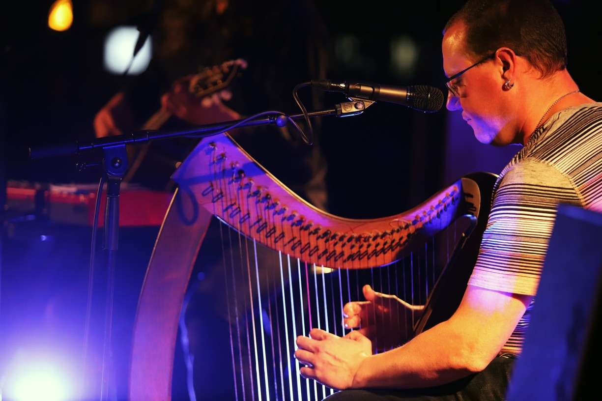 Fenomenálním hráč na keltskou harfu Sean Barry