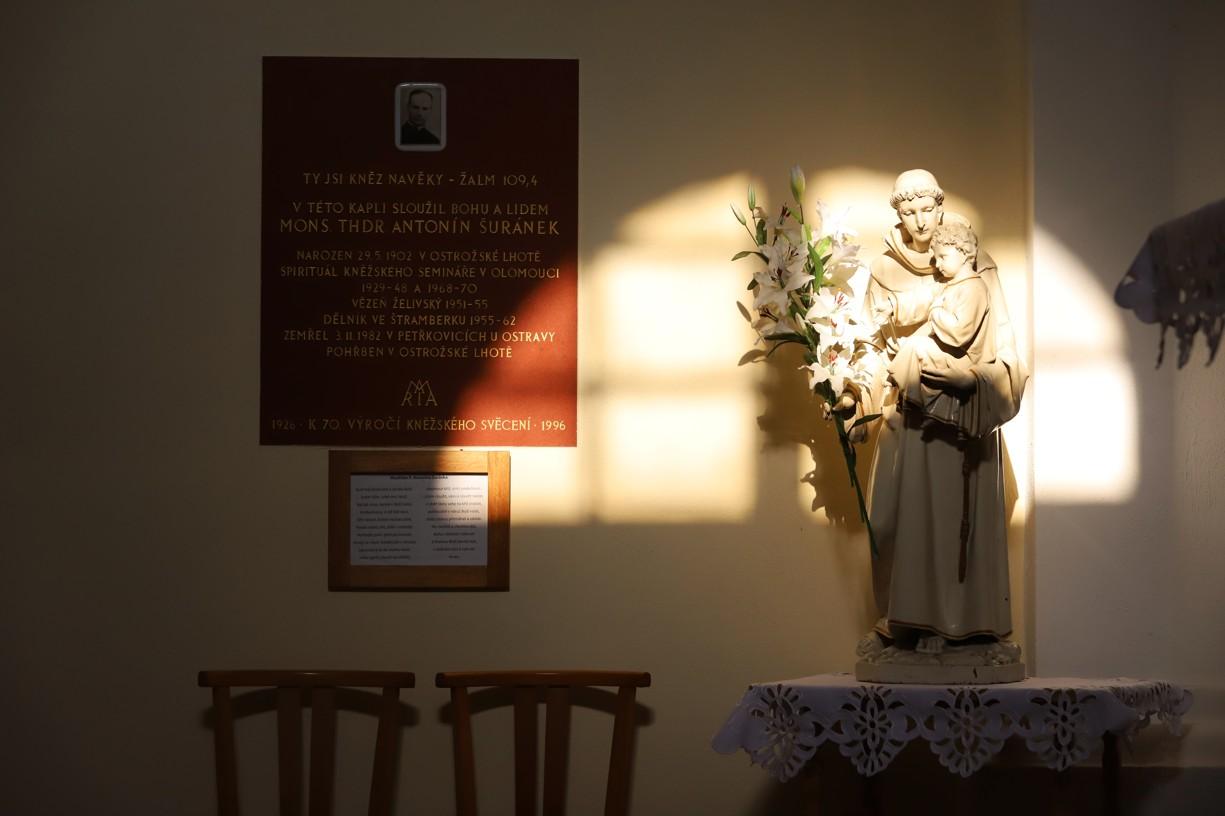 Takové krásné světlo v pozdním odpoledni dnes dopadalo na sochu sv. Antonína v interiéru kaple na Blatnické hoře.