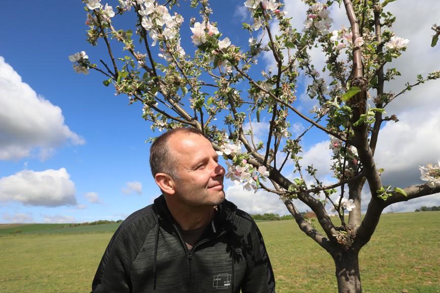 Zdeněk Sečka z Moravského Písku u jednoho z právě kvetoucích stromů, které vysadil.
