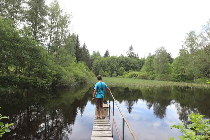 Putování Slavonicemi a okolím jsme zakončili u farského rybníku, který se nachází u vypálené vesnice Pfaffenschlag.
