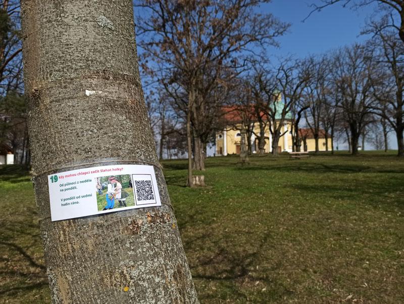 Na stromech v aleji je instalována Velikonoční stezka, která poučí i pobaví